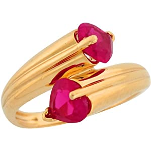10k Yellow Gold Two Stone Heart-shape Cut Synthetic Ruby Wrap Design Ladies Ring
