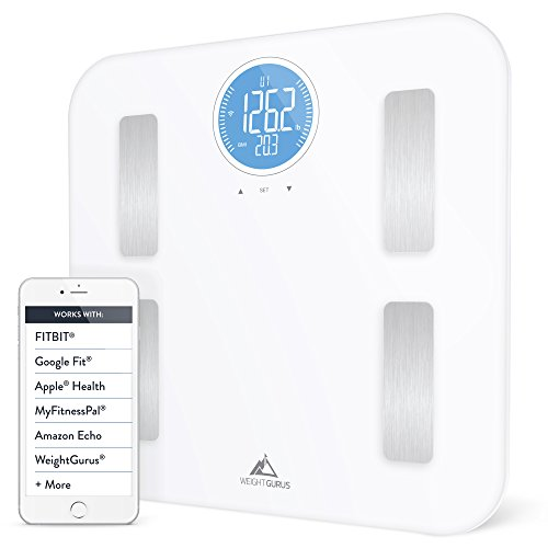 Weight Gurus Wifi Smart Connected Body Fat Scale with Large Backlit LCD (White + Stainless)