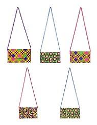 Rajrang Indian Designs Cotton Designer Multi Color Clutch Bag Lot