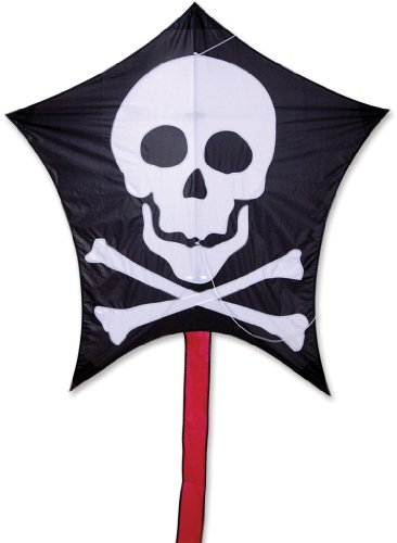 Premier 45908 5-Sided Polygonal Penta Kite with Solid Fiberglass Frame, Jolly Roger