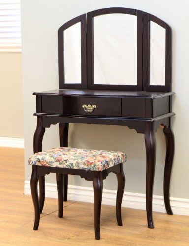Frenchi Furniture Queen Anne Style Cherry Finish Wood Vanity Set - Table, Bench & Mirror