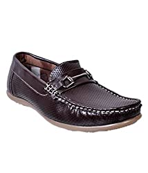 Duppy Boys Brown Synthetic Leather Loafers 05 UK