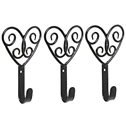 Set of 3 Decorative Black Scrollwork Hearts Design Metal Wall Mounted Home Storage Organizer Hooks