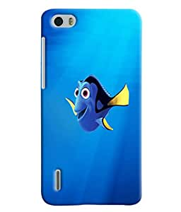 Blue Throat Fish Cartoon Printed Designer Back Cover/ Case For Huawei Honor 6