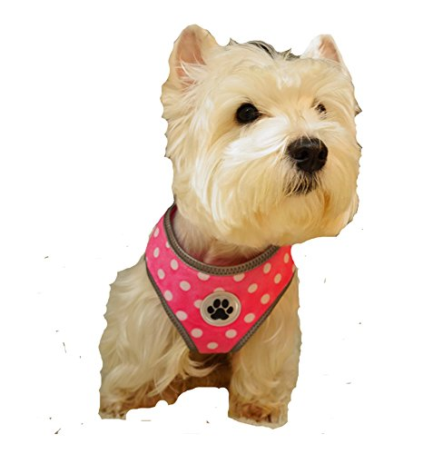 Polka Dot Pink Reflective Padded Soft Dog Harness Safe Harness Winter Pet Harnesses for Small Dogs,Medium Size (Medium Size Harness compare prices)
