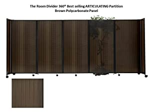 Room Divider 360 Portable Partition, Bronze Polycarbonate - 6'10'' high x 19'6'' long