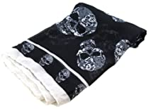 Black & White Sheer Sugar Skull Print Scarf