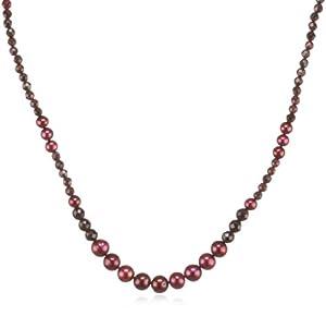 Valero Pearls Fashion Collection Damen-Kette Hochwertige Süßwasser-Zuchtperlen in ca.  4-8 mm Rund weiß 925 Sterling Silber   Granat 43 cm + 5 cm Verlängerung   60200502
