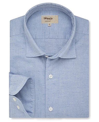 tmlewin-mens-blue-dobby-oxford-washed-casual-shirt-small