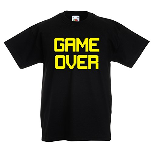 Funny t shirts for kids GAME OVER! Vintage t shirts funny gamer gifts gamer shirt (12-13 years Black Yellow) (Moviestarplanet Game compare prices)