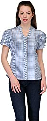 Belle Casual Short Sleeve Checkered Women's Top (BC - 121_38)