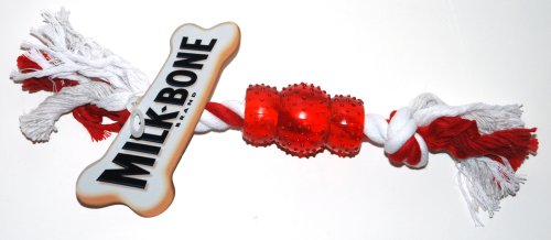 Milk-Bone Dog Toy, 10 Inch Long Red and White Rope / Vinyl Chew Dog Toy (1 Toy)