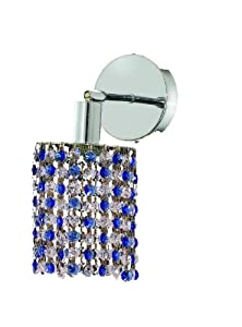 Elegant Lighting 1381W-R-R-SA/RC Mini 13.5-Inch High 1-Light Wall Sconce, Chrome Finish with Sapphire (Blue) Royal Cut RC Crystal