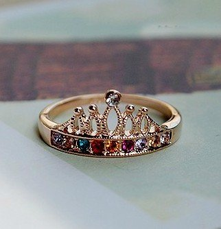 Simplifestyle Gloden Crown Ring with Colourful Rhinestones Ideal Gift for Lover,Ladies,Wemen,Girl,Females,Fashionista ,Suitable for Party,Gathering,Business Gift