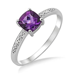 Amethyst Ring, 9ct White Gold, Diamond Setting, Cushion Cut Ring, Size O, by Miore, MT023ARP