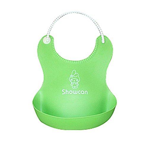 bavaglini in silicone per il bambino,  FEITONG Neonati graziosi bambini bavaglini pranzo carino impermeabile (verde)