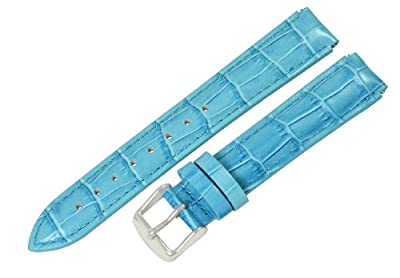 Clockwork Synergy® - 12mm x 10mm - Sky Blue Croco Grain Leather Watch Band fits Philip stein Mini