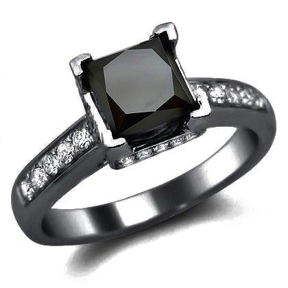 1.90Ct Black Princess Cut Diamond Engagement Ring 14K Black Gold Rhodium Plating Over White Gold