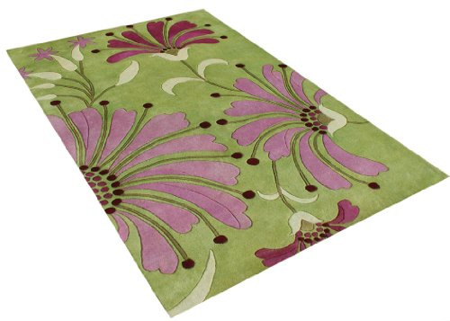 ZnZ Rugs Gallery, 26009_5x8, Hand Made Green New Zealand Blend Wool Rug, 1, Wild Rose, Burgundy, Light Grass Green, 5x8'
