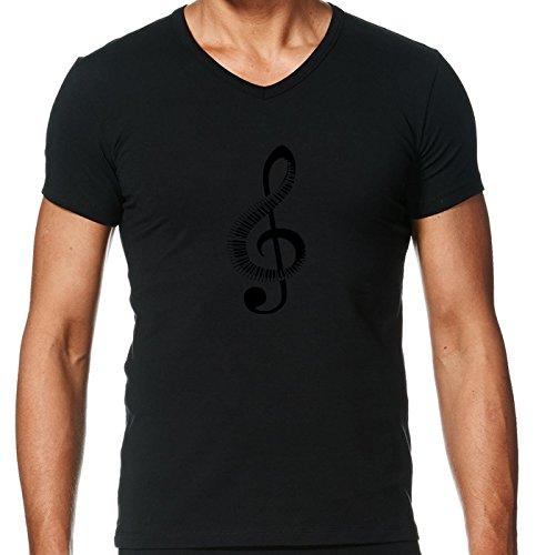 T-Shirt-V-Ausschnitt-Herren-Clef-Musik-Klavier-Musikalisch-by-WonderfulDreamPicture
