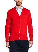 Hackett London Chaqueta Punto Fine Gg Cardigan (Rojo)
