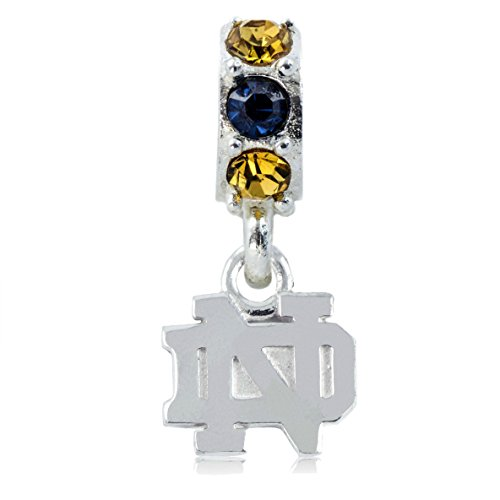 NCAA Notre Dame Fighting Irish .925 Sterling Silver Spirit Charm Bead, Notre Dame Jewelry