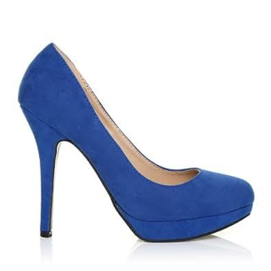 ShuWish UK Escarpins talon haut imitation daim bleu électrique EVE