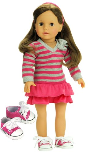 Doll Clothes 18 Inch Size Fits American Girl Dolls 3 Pc. Set, Pink & Gray Striped Shirt, Pink Skirt & Doll Sneakers Amazon.com