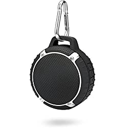 1byone Outdoor/Shower 4.0 Rechargeable Waterproof Bluetooth Speaker, Handsfree Portable Speakerphone with Built-in Mic, Compatible with All Bluetooth Devices, Color: Black