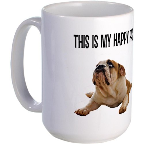 CafePress - Happy Face Bulldog - Coffee Mug, Large 15 oz. White Coffee Cup (Bulldog Coffee compare prices)