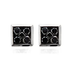 14k White Gold Black Rhodium Square Black Diamond Stud Earrings - 1 Carat