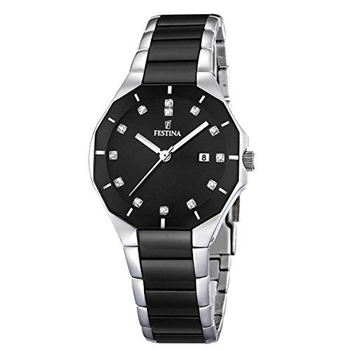 Festina F16399/3 - Reloj analógico de pulsera para mujer (mecanismo de cuarzo, esfera negra y correa de acero inoxidable multicolor)