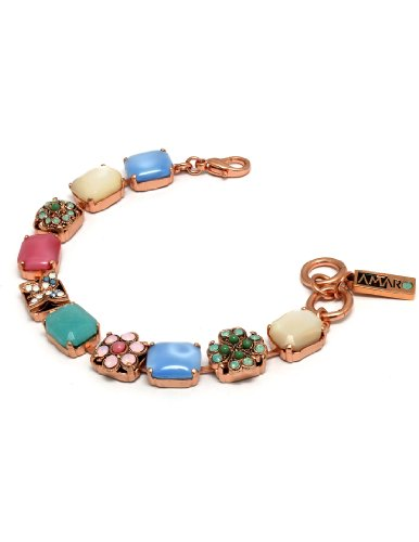 'Flow' Collection 24 K Rose Gold Plated Astonishing Bracelet by Amaro Jewelry Studio Made with Flower and Butterfly Ornaments, Amazonite, Blue Lace Agate, Mother of Pearl, Variscite, Swarovski Crystals