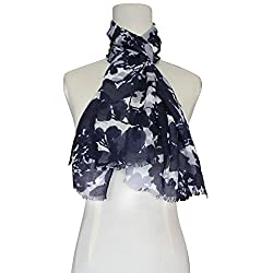Vozaf Women's Viscose Stoles & Scarves - White & Black