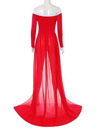 Saslax Maternity See-through Chiffon Gown Split Front Maxi Photography Dress for Photo Shoot