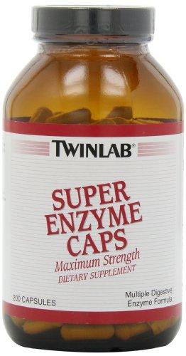 Twinlab Super Enzyme Caps, Maximum Strength, 200 Capsules