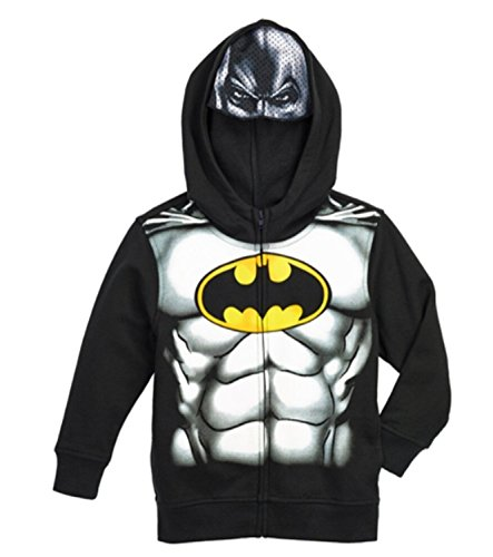 Spiderman Boys' Fleece Hoodie with Mask-red (5, Batman Black)