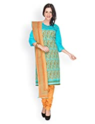 EQ Women Pure Cotton Blue Color Salwar Suit. - B00X7CXG68