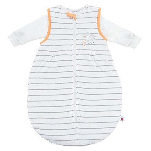 Ganzjahres Baby-Schlafsack 2-teilig - Langarm-Innensack & gefütterter Außensack | Temperaturen von 15 bis 30°C | Streifen Beige Schäfchen | Birnenform ohne störende Rücken-Nähte (Größe 74/80 | 6-12 Monate)