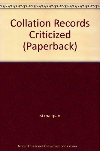 Collation Records Criticized (Paperback) PDF