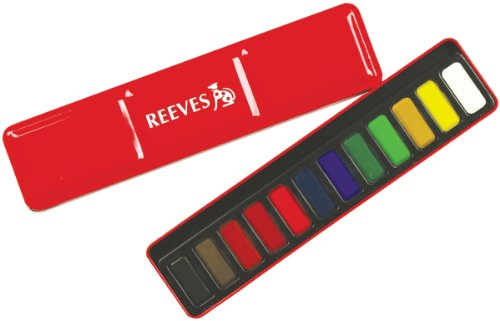 Reeves Water Color Pans with Red Metal Tin,Set of 12 - 1