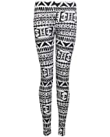 Womens Full Length Aztec Navajo Tribal Print Jersey Leggings / Size 8-14 - £6.99 (ML - UK(12-14), White)