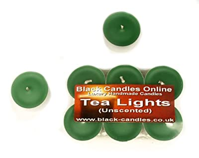Green Tea Lights - Pack Of 6 Tea Light Candles - 65 Hour Burn Time - Unscented Tealights by Black Candles Online