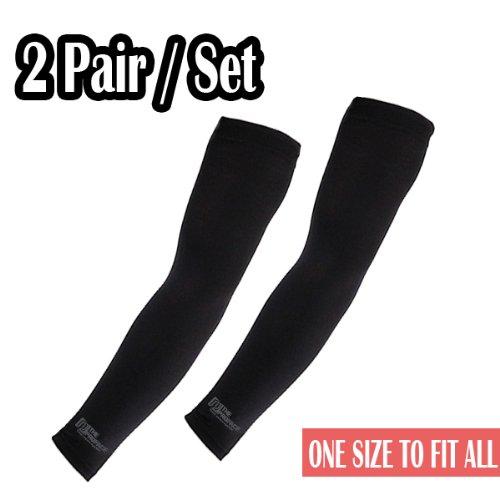 Elixir Golf Unisex 2 Pairs of Black Cooling Arm Sleeves, Black