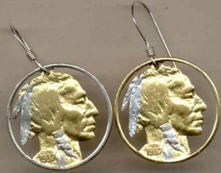U.S. Nickel ÒIndianÓ Two Toned Coin Cut Out Earrings