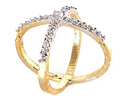 Lady Touch American Diamond Stylist Gold Plated Fashion Ring For Girls & Women