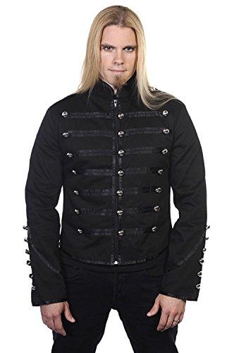 Giacca nera, stile militare con borchie argentate Banned gotico nero XL