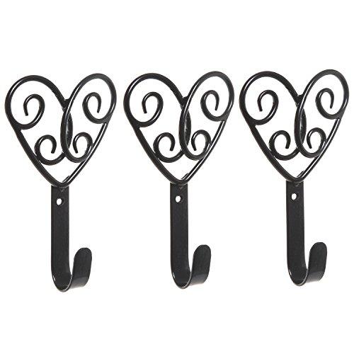 Set of 3 Decorative Black Scrollwork Hearts Design Metal Wall Mounted Home Storage Organizer Hooks