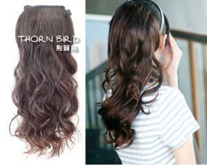 Stunning Dark Brown Wavy clip in on synthetic ponytail hair extension