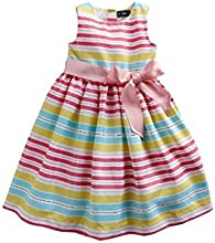 Chaps White Multicolor Striped Taffeta Spring Dress for Girls